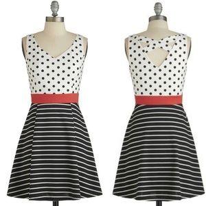 Modcloth Dots & Stripes Black White Dress 1X W985